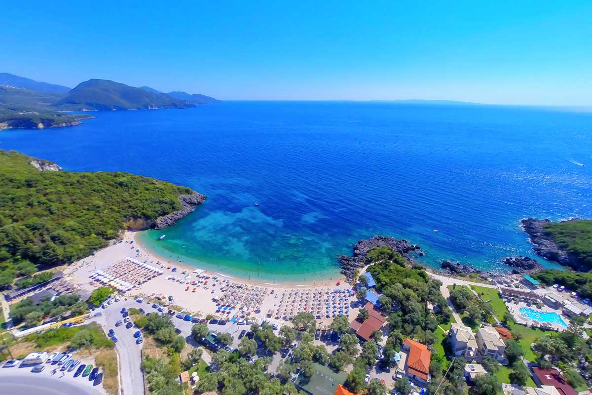 ionian sivota rent car bike excursions parga mega ammos beach